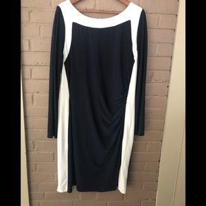 Lauren Navy & White Stretch Dress 18